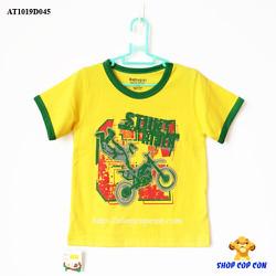 Áo thun màu vàng viền tay hình xe môtô