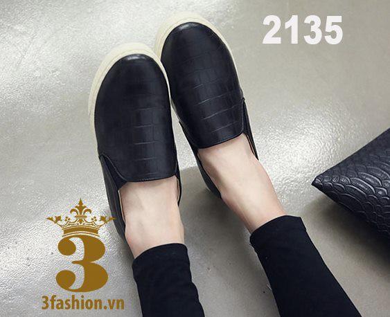 Giày bệt nữ- Giày slip on - Giày slip-on da rắn chất da bóng đẹp 2
