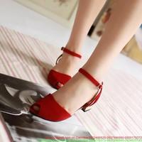 Giày sandal nữ hở mủi sắc đỏ xinh xắn SD13