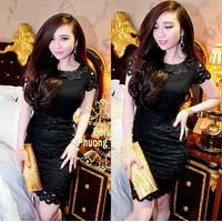 Đầm đen ren tròn