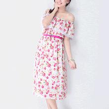 AĐ084: Đầm maxi hoa hồng trễ vai