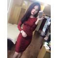 Đầm thun body tay dài họa tiết Beo đỏ BDBD001