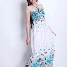 AĐ082: Đầm maxi hoa xanh