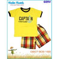 Bộ bé trai Captain phối quần short caro cho bé