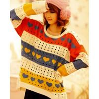Áo len nữ dài tay, hoạ tiết tim đáng yêu, phong cách Hàn Quốc-A1615