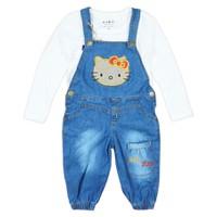 Bộ yếm jean kitty tay dài quần dài BY-046A