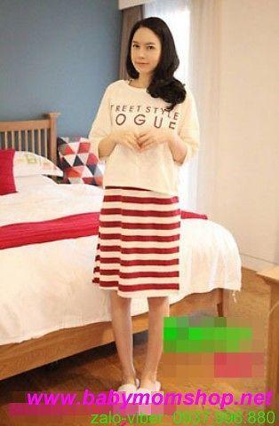 Đầm bầu cho bé bú sọc trắng đỏ kèm áo sành điệu trẻ trung DB188 1