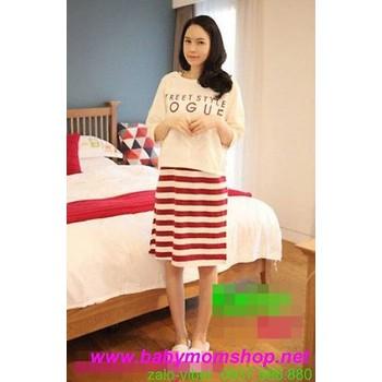 Đầm bầu cho bé bú sọc trắng đỏ kèm áo sành điệu trẻ trung DB188