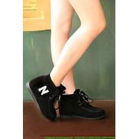 Giày da nhung thu đông chữ N sành điệu nổi bật GUBB57