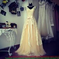 Hàng hot vừa về:Đầm cô dâu ren nơ phối lưới thướt tha quyến rũ sDMX122