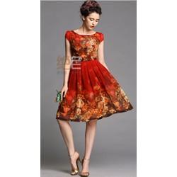 Đầm họa tiết dự tiệc màu Pháo Xuân