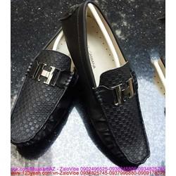 Giày da nam công sở caro chữ H lịch lãm nổi bật GDNHM22