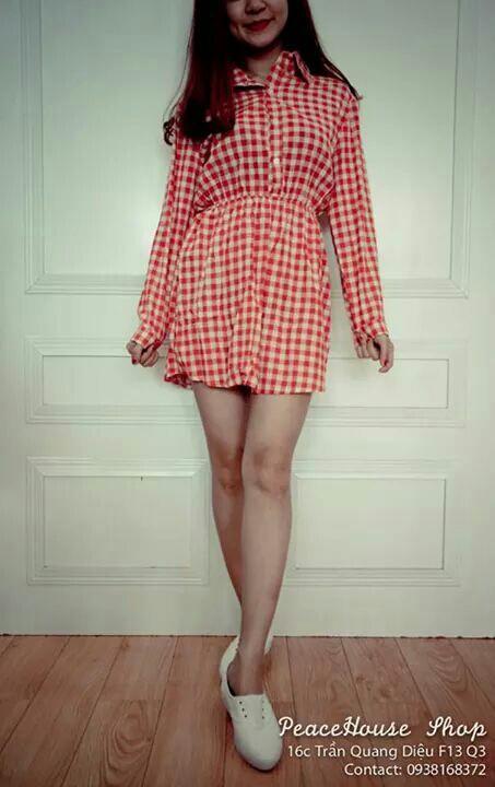 Đầm xòe caro cổ sơ mi D064 1
