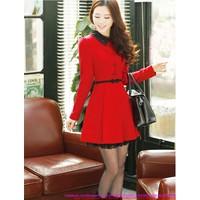 Đầm đỏ noel xòe cổ peter viền đen xinh xắn xuống phố vDDN20