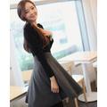 Đầm xòe dài tay thời trang Hàn Quốc 2015 _ ĐN08
