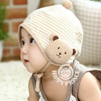Mũ trùm đầu bé trai, gái thoải mái, kẻ sọc phối hình gấu đáng yê