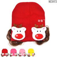 Mũ len bé gái kèm tóc giả dễ thương, phối hình gấu nổi bật, cá tính