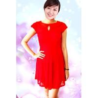Đầm ren đỏ cổ lá sen ĐRĐCS-200