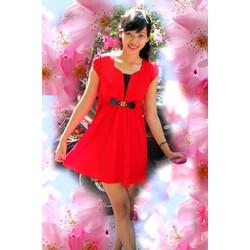 Đầm xòe đỏ thắt nơ eo - ĐNEĐ-125