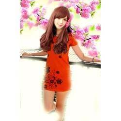 Đầm suông cam hoa đen  ĐSHĐC-115