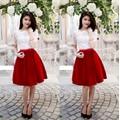 Sét Áo Ren Chân Váy Nhung Phối Nơ Đỏ YKVN056