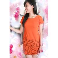 Đầm suông cam lai hoa đen  ĐSCLHĐ-115