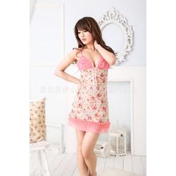 Đầm ngủ nữ hai dây gợi cảm, họa tiết hoa nhỏ xinh xắn-DN365