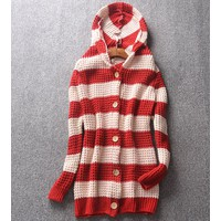 áo khoác len nữ sọc phối màu Mã: AO1801 - ĐỎ