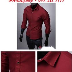 Aó sơ mi nam màu đỏ đô nút bấm vải thun co giản cực đẹp cho nam
