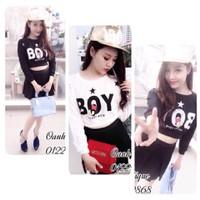 Set thun áo croptop họa tiết Chữ Boy + Váy xòe SAVM001
