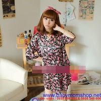 Đầm ngủ kiểu dáng áo sơ mi trẻ trung họa tiết hoa cực xinh DNL183