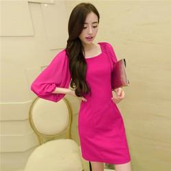 Đầm voan xếp ly tay phồng thời trang Thái Lan DDP08234