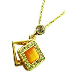 Dây chuyền kim loại vàng, mặt đá hình thoi  CVI01-255