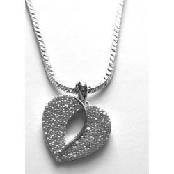 Dây chuyền kim loại bạc, mặt trái tim rỗng  CBKE02-180