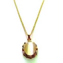 Dây chuyền kim loại vàng, mặt hạt bẹt viền đá  CVFE01-235