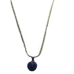 Dây chuyền kim loại bạc, mặt trái châu màu xanh  E001-138