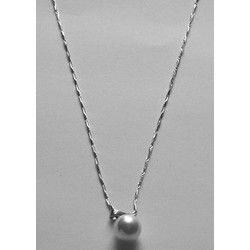 Dây chuyền kim loại bạc, mặt hạt bẹt hình tròn  CE002-119