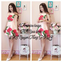 Đầm xòe sát nách tùng tròn hoa Hồng đỏ cực dễ thương , xinh xắn
