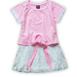 Set áo thun cột dây phối váy ren cho bé thêm xinh