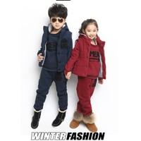 Bộ 3 cái quần áo mùa đông cho bé 4-16 tuổi cao cấp lông cừu V021