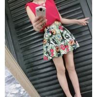Váy đầm hoa sát nách nữ tính Mã: AV789 - HỒNG