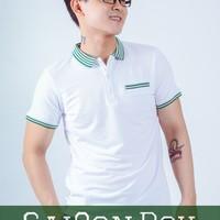 Áo thun trắng cổ sọc xanh lá T92