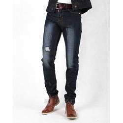 Quần jeans nam ống côn xanh mài đậm rách PT6022
