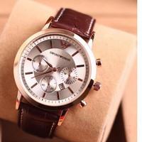 Đồng hồ nam dây da cao cấp Armani Ar01