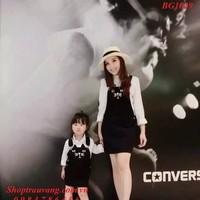 BG1029 - Đầm yếm mặt mèo và áo sơ mi sz mẹ