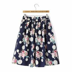 Chân váy chữ A chấm bi hoa