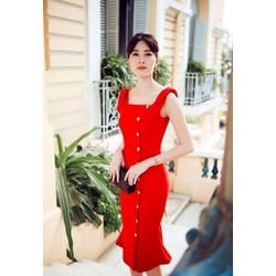 Đầm Hoa Hậu Thu Thảo Đính Nút Xinh Xắn TAMN1982
