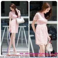 Đầm xòe ren màu hồng cùng nàng dạo phố xinh như ngọc trinh DZ337