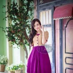 Đầm xòe phối màu siêu xinh