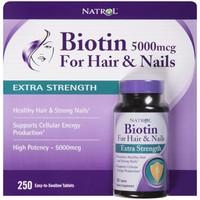 Natrol Biotin 5.000mcg 250 viên. Thuốc mọc tóc, chăm sóc da, móng, tóc